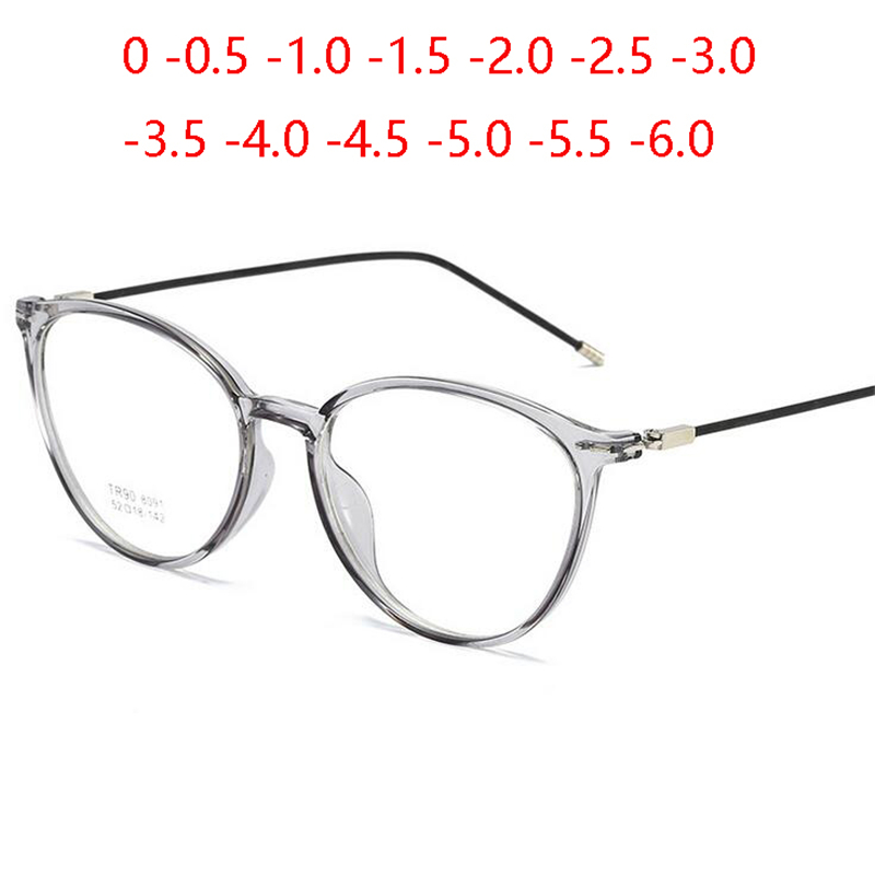 Transparent Women Nearsighted Spectacle Ultralight TR90 Steel Wire Leg Oval Prescription Eyeglasses Diopter 0 -0.5 -1.0 To -6.0