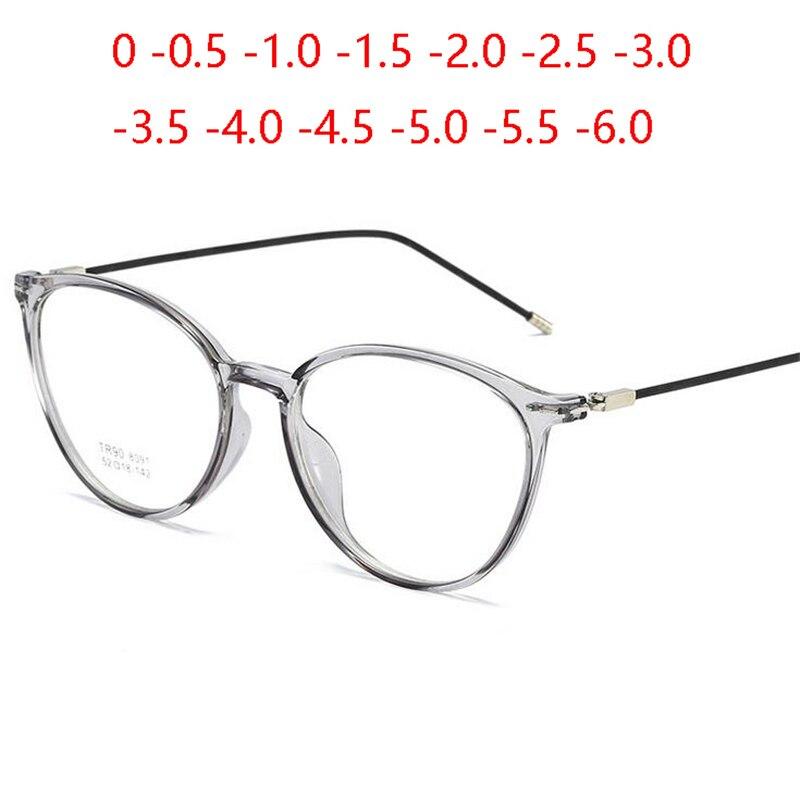 Transparente mulher óculos de visão curta ultraleve tr90 fio de aço perna oval prescrição óculos diopter 0-0.5-1.0 para-6.0