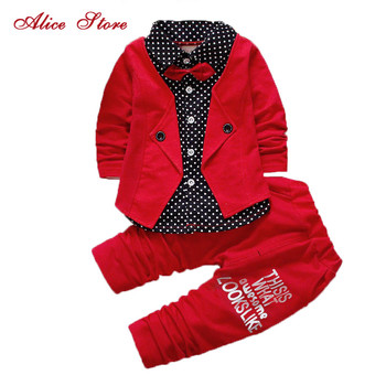 2017 Boys Spring Two Fake Clothing Sets Kids Boys Button Letter Bow Suit Sets Children Jacket + Pants 2 pcs Clothing Set Baby 2017 spring newborn baby boy clothes bow lie kids suit clothing sets 3pcs children bebe solid cloth outfit sport coats boys