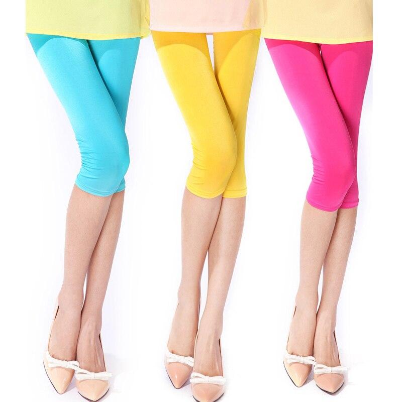 Summer Short Neon Leggings Colored Capri Leggins Women\Girls Elastic High Waist Legns Thin Breathable Knee-Length 2020 New