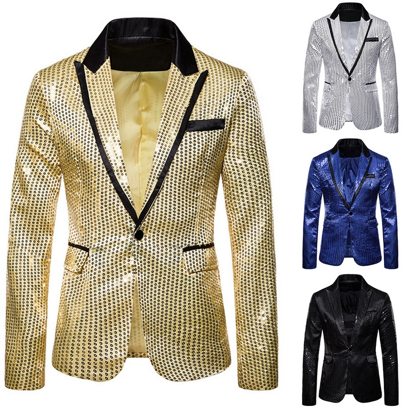 Oeak Men Fashion 3 Pcs Sequin Blazers Jacket Set Men Suit Jacket +Vest + Shirt Sets Wedding Party Gliter DJ Luxury Stage Clothes