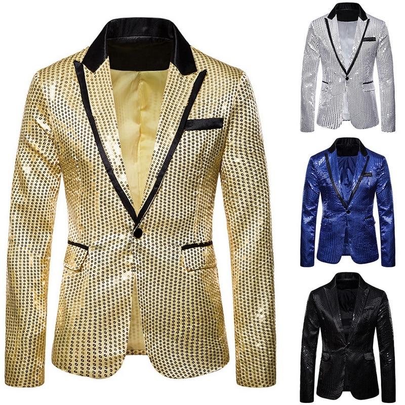 Oeak Men Fashion 3 Pcs Sequin Blazers Jacket Set Men Suit Jacket +Vest + Shirt Sets Wedding Party Gliter DJ Luxury Stage Clothes