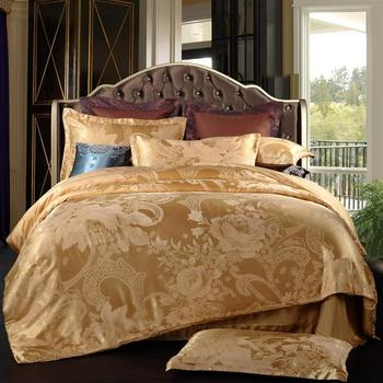 Hot sale Silk Cotton Luxury Jacquard Bedding set Europe Bed set Bedclothes Duvet cover Bed sheet Pillow case Queen King 4Pcs