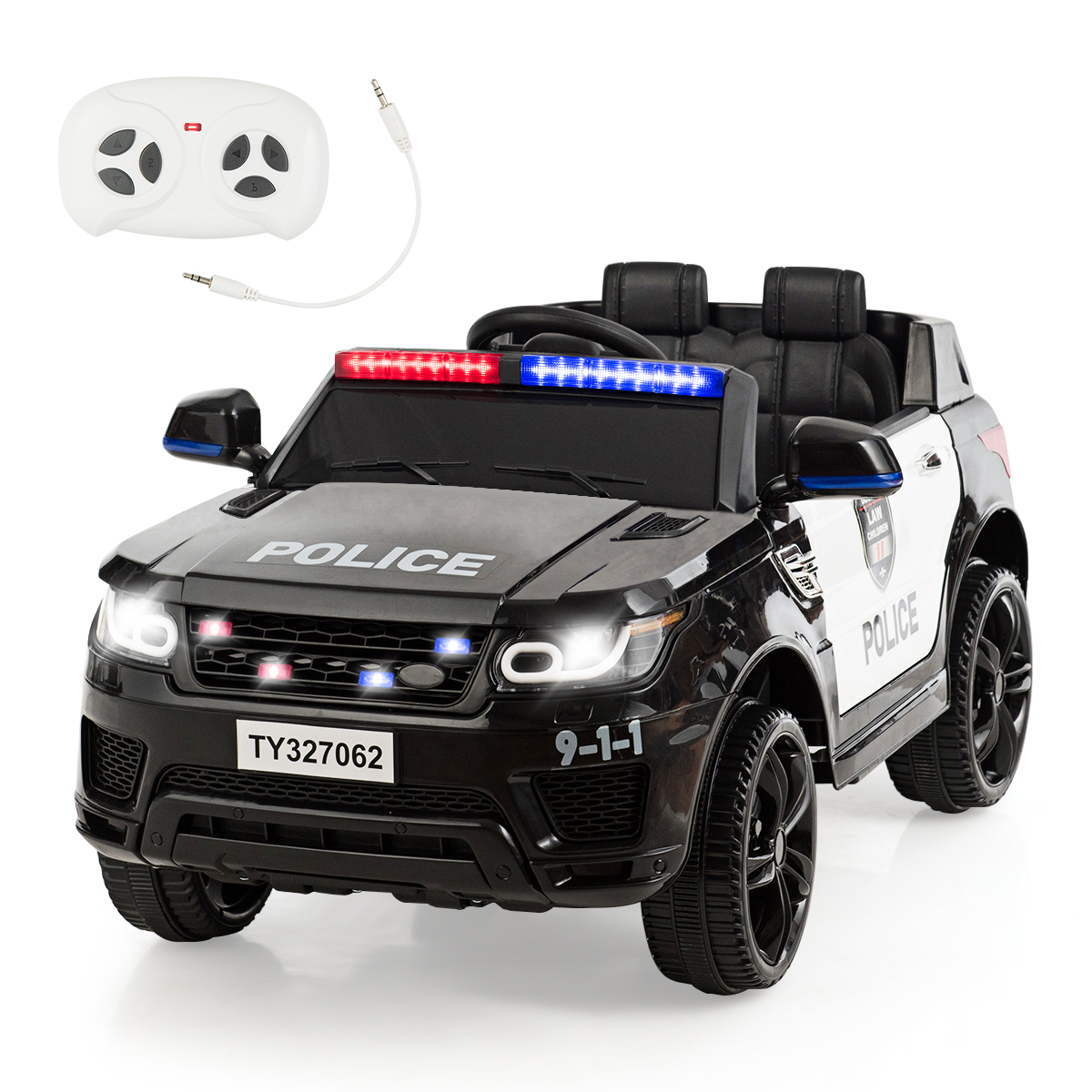 Kids 12V Electric Ride On Car W/Remote Control Bluetooth Lights/Sounds Black