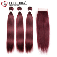 99J/Burgundy Red Color Straight Human Hair Weaves 3 Bundles With Lace Closure 4x4 EUPHORIA Brazilian Remy Weft Extensions