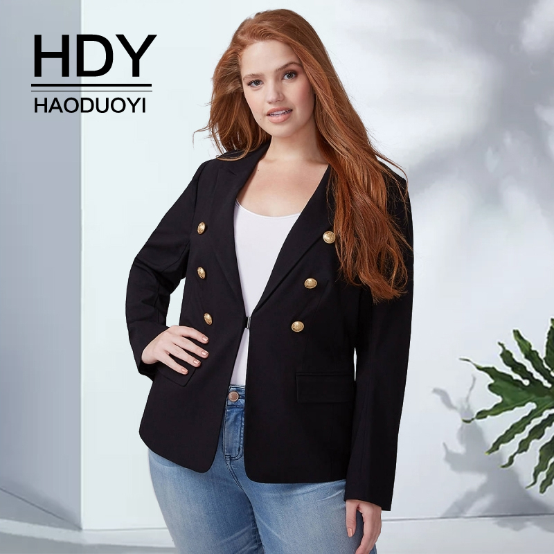 HDY Haoduoyi 2019 Autumn New Fashion Casual Double Row Button Simple Style Black Slim Large Size Women's Clothing Suit Jacket
