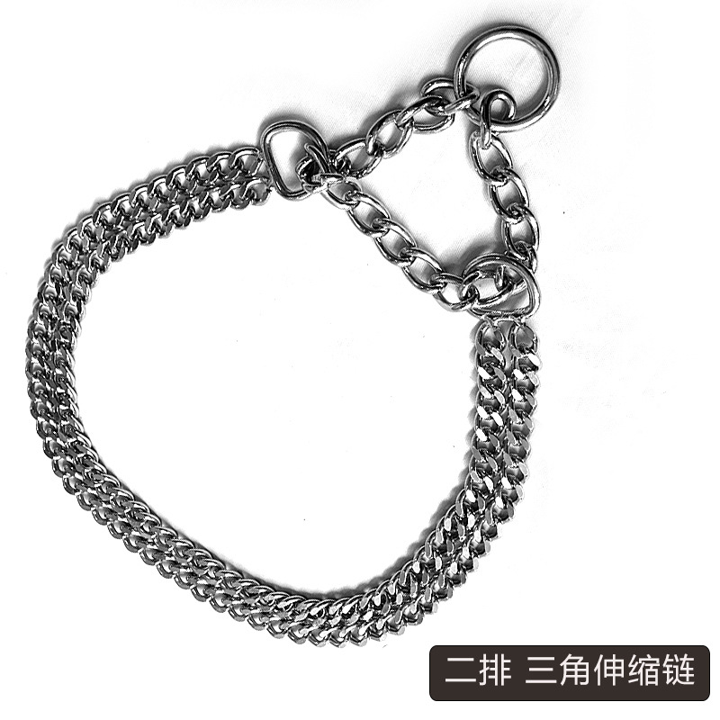 New Style Stainless Steel Dog Collar Leash Circle Large Dog Pet Collar Dog Collar Training Extendable Necklace Bite Resistant Ba