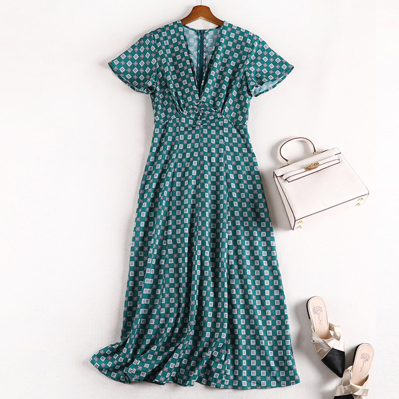 Lan Mu Square 2019 Summer France Non-mainstream New Style Large Size Dress Loose-Fit Plaid Large GIRL'S Size Slimming X1033