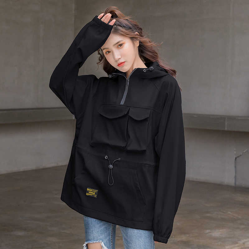 #9138 Plus Size Jackets For Women Autumn Front Pockets Casual Loose Hoodies Jacket Coat Ladies Hooded White Black Top Streetwear
