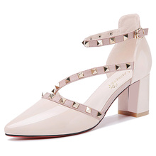 New Fashion Rivet Thick Heel Women Sandals Sexy Hollow High Red Bottom Summer Shoes Heels 3-14
