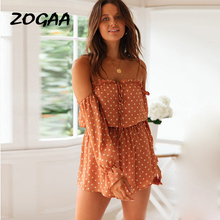 Dot Print Long Sleeve Rompers Womens Jumpsuit Sexy Off Should Backless Lace Up Orange Rompers Casual Loose Plus Size Rompers cheap ZOGAA Viscose Playsuits Broadcloth Ages 18-35 Years Old 19czJumpsuits078