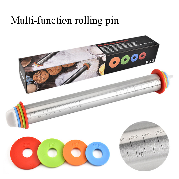 BEEMSK Baking Tools Adjustable Thickness with Scale Rainbow Wood Rolling Pin 4 Washers in Pancake Batter Dispensers from Home Garden