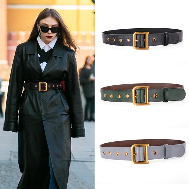 2020 Designer Belt Genuine Leather Belts For Women High Quality Fashion Luxury Brand Waist D Buckle Ceinture Femme Plus Size