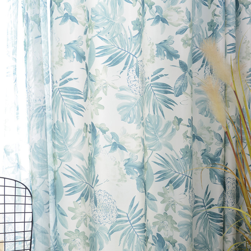 Custom Curtains for Bedroom Living Room Fragmentary Flowers Fresh Plants Nordic Rainforest Style Printed Pastoral Curtains