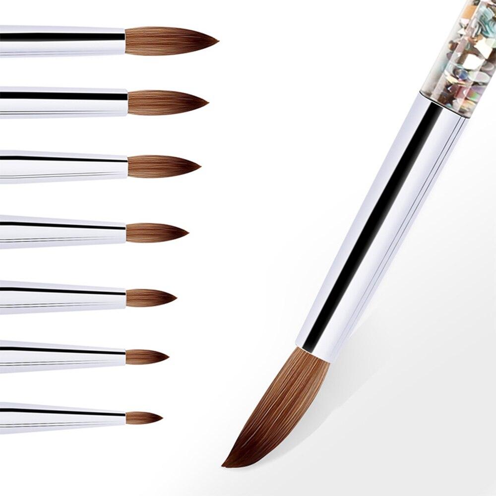 Новая кисть с блестящей ручкой для дизайна ногтей для акриловой пудры 100% нейлоновая кисть для маникюра акриловыми ногтями круглая кисть дл...