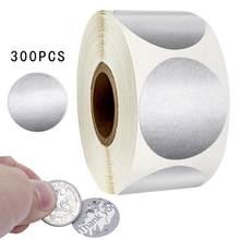 300 pces 1 polegada de prata redonda riscar fora adesivos para o jogo personalizado festa atividade etiqueta dos artigos de papelaria adesivos claros