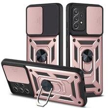 Phone Case For Oppo F17 F19 Pro Plus A52 A3S A72 A92 4G A9 A5 2020 Luxury Anti-fall Armor With ring Bracket Push window PC Cover