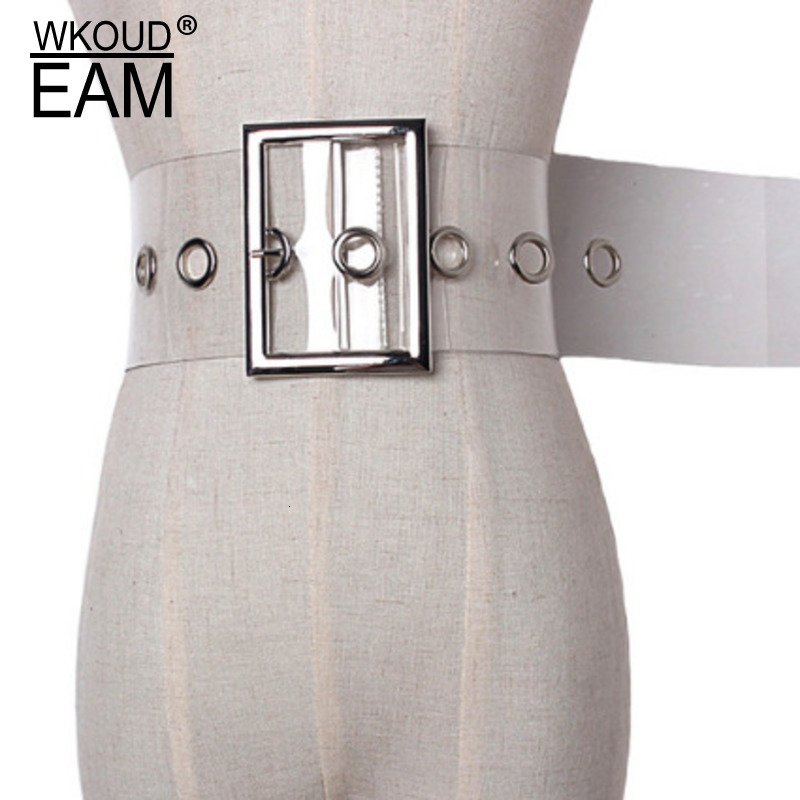WKOUD EAM 2020 New Fashion Trendy Wid Belt For Women Solid Square Buckle Transparent Casual Tide Korea Style Girdle Female A90