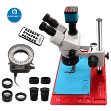 3.5X-90X Simul Focal Trinocular Stereo Microscope with Aluminum Alloy Base + HDMI Camera for PCB Soldering Repair Tool