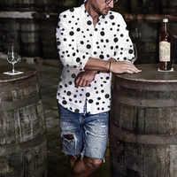 Männer Dünne Große Polka Dot Langarm Shirts Business Fitness Freizeit Revers Neck Buttons Tops INCERUN Camisas Hombre Größe S-5XL