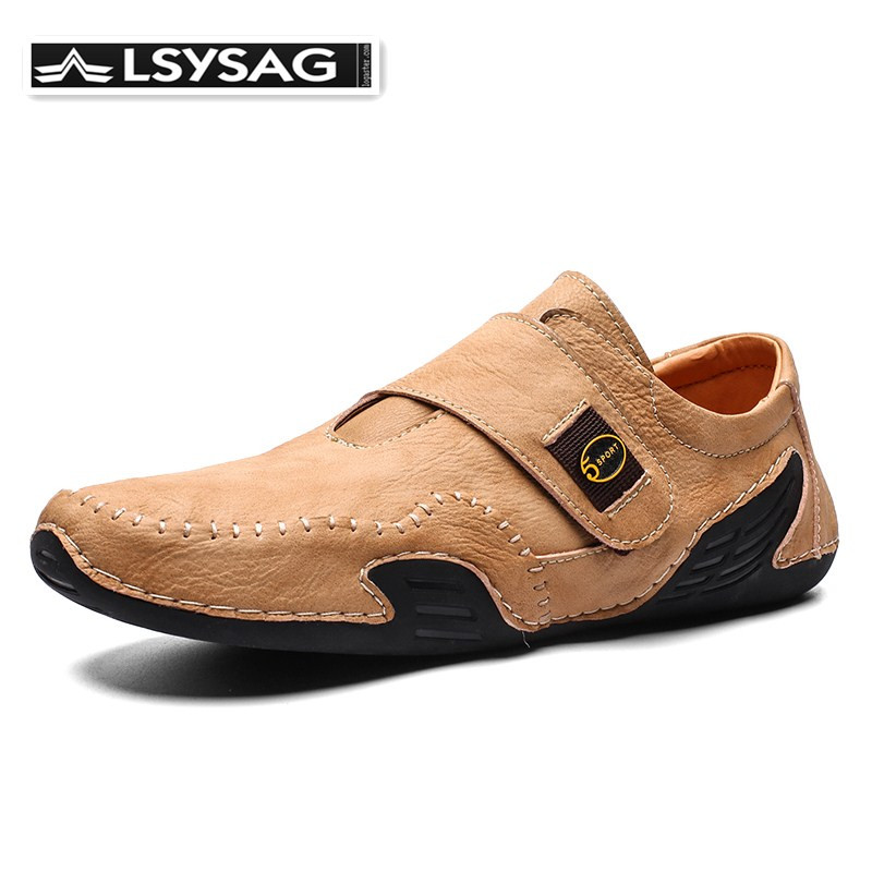Men Casual Shoes Fashion Luxury Leather Men Loafers Moccasins Hook&loop Men's Flats Male Driving Shoes Breathable Homme