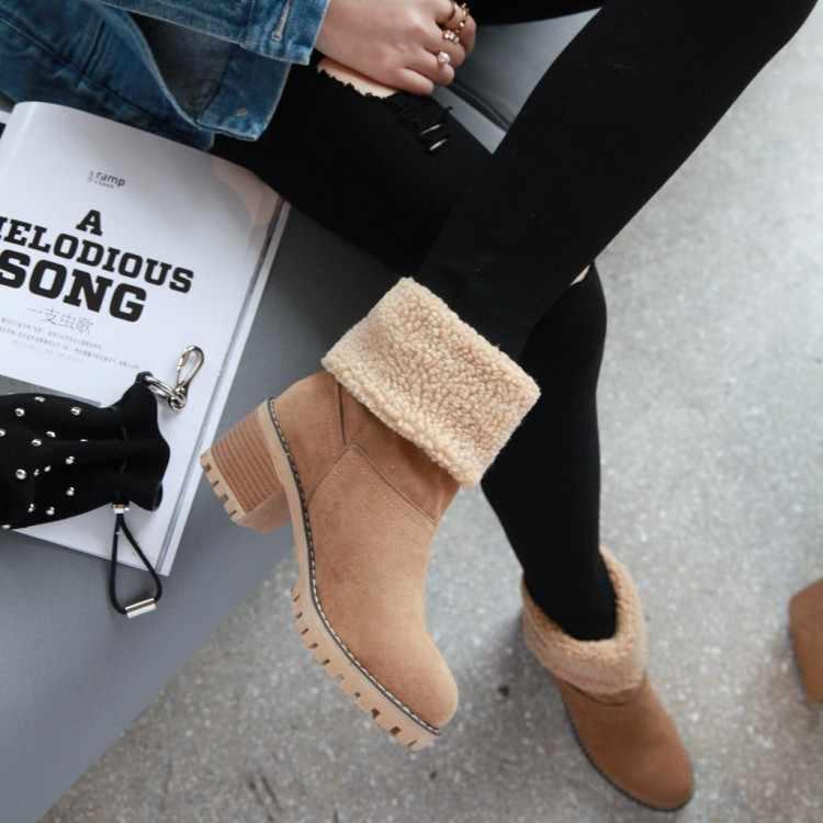 2019 ผู้หญิงฤดูหนาวกลางแจ้งรองเท้านุ่มสบายรองเท้าบู๊ทข้อเท้าหิมะ FLOCK WARM Bootie หญิงรองเท้าส้นสูงแพลตฟอร์ม Wedges