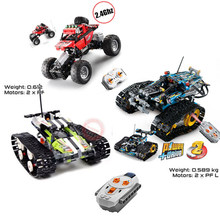 NEW RC TRACKED RACER TECHNIC Car Fit Legoings Technic Car Electric Motor Power Model Building Block Bricks DIY Toys Gift technic series 42065 radio controlled tracked racer set race car tank legoinglys building block brick toy technic lepin 20033