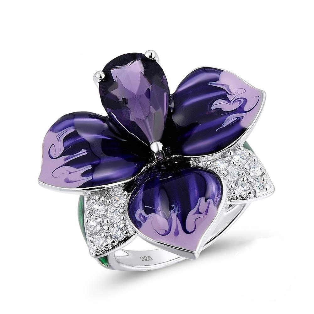 925 Silver Cloisonne สีฟ้าลึกดอกไม้สีม่วงเคลือบแขวนสร้อยคอต่างหูชุดเครื่องประดับ