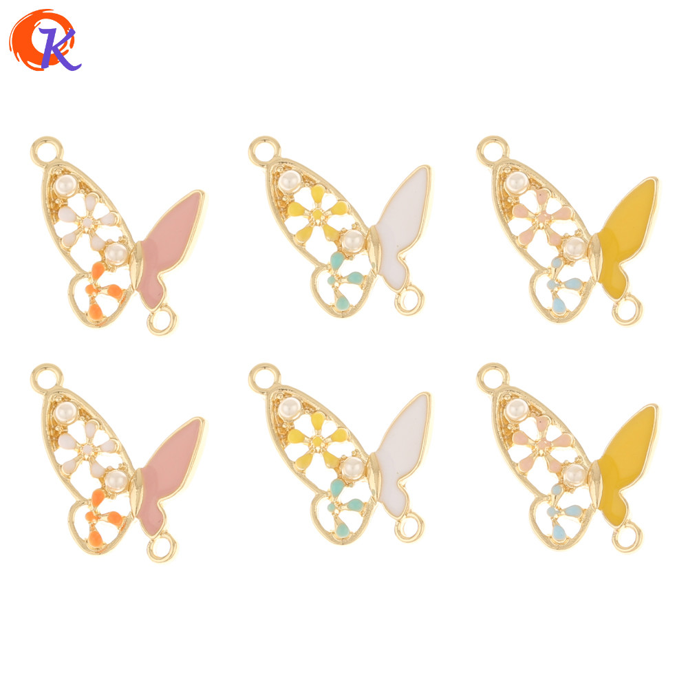 Cordial Design 50Pcs 20*26MM Earring Findings/Jewelry Accessories/Imitation Pearl/Butterfly/Paint Effect/Hand Made/DIY Charms