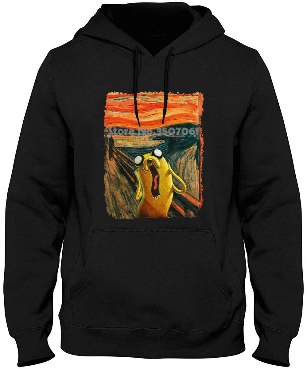 Adventure Time , Jake Scream, Men's Women's All Sizes Men's Fashion Black Cotton Hoodies & Sweatshirts