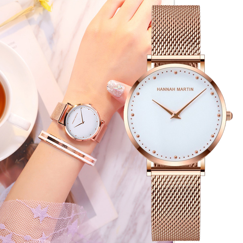 Hannah Martin Women Watches Top Brand Luxury Fashion Japan Quartz Movement Stainless Steel Rose Gold Waterproof Wrist Watches
