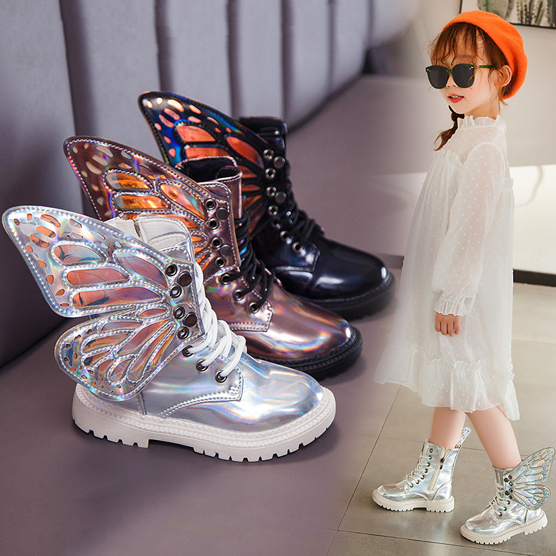 New Boots Kids 2019 Autumn Winter Girls Boots Children's Butterfly Wings Rubber Shoes Kids Plush Solid Leather Girl Child Shoe