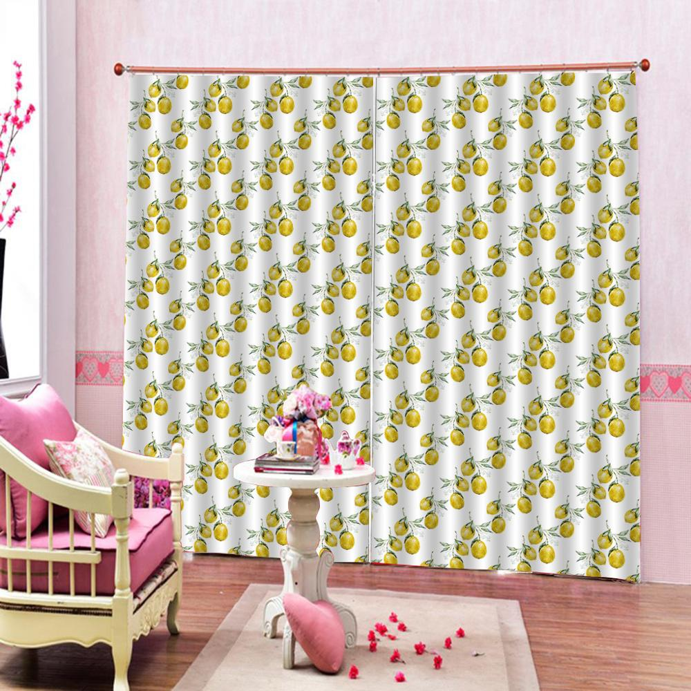 yellow fruit curtains Luxury Blackout 3D Window Curtains For Living Room Bedroom Customized size Drapes