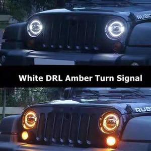 """Image 5 - Acessórios do carro led 7 Polegada farol para jeep wrangler jk 7 """"branco azul âmbar auréola faróis para hummer lada 4x4 urbano niva"""