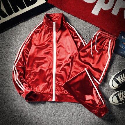 Men's Elegant Sports Suit Male Fashion Brand Korean Jackets Pants Loose Large Size Bright Silk Baseball Clothes Coat Set