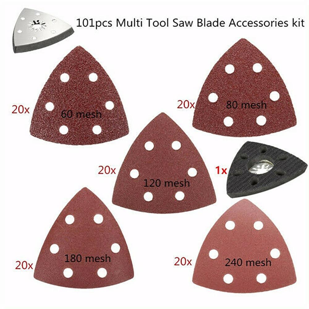 101pcs/Set 60-240 Grit Triangle Sanding Sheets Paper W/ Sander Grinder Plate Useful For Many Brands Bosch/Black And Decker Etc