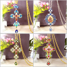 Religious Jesus Cross Pendant Necklace Long Chain Christian Orthodox Pectoral Enamel Colorful Oil Virgin Mary Priest Church(China)