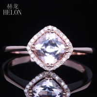Solid 14k Rose Gold Certified Cushion 0.82ct Genuine Natural Morganite Diamonds Ring Engagement Wedding Jewelry For Women Gift