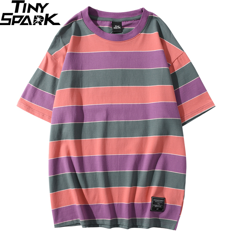 Hip Hop T Shirt Men 2020 Streetwear Harajuku Stripe Tshirt Color Block Short Sleeve Cotton T-Shirt Fashion Tops Tees Green Blue