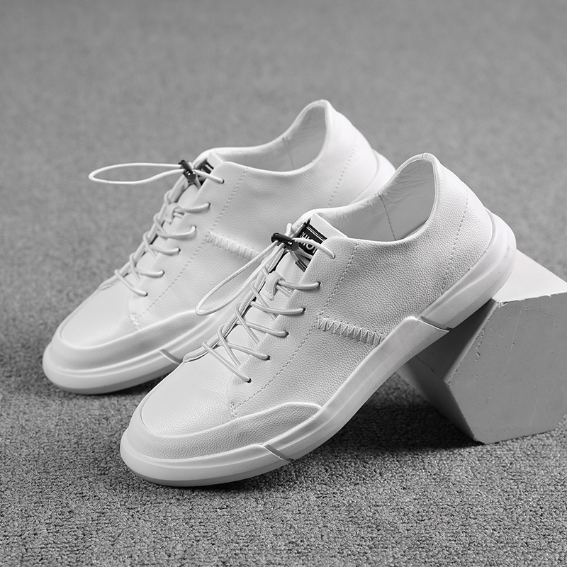 Men's Sneaker Mens Shoes Genuine Leather Handmade Mens Shoes Soft Fashion Sneakers Men Shoes Simple White Flats