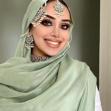 Hijab Scarf Shawl Velvet Silk Shine Wraps Muslim Long Plain Soft Festival Artificial