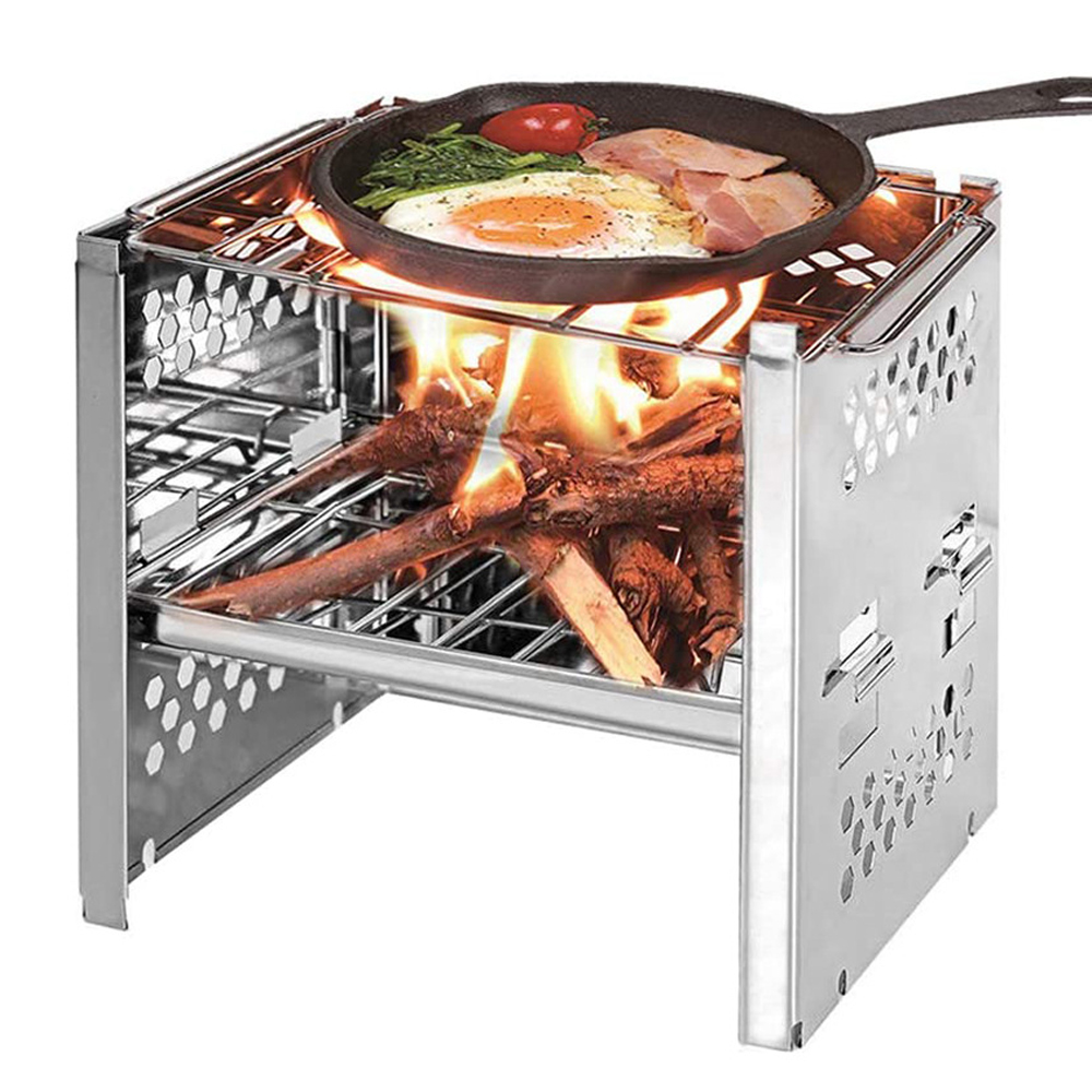 Outdoor Stainless Steel Firewood Stove Double Wood Burner BBQ Picnic Grill Outings Mini Camping Cooking Charcoal Folding Grill