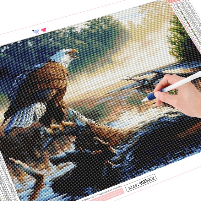 HUACAN Mosaic Painting Diamond Embroidery Animals Full Square Round Drill 5D DIY Diamond Painting Bald Eagle