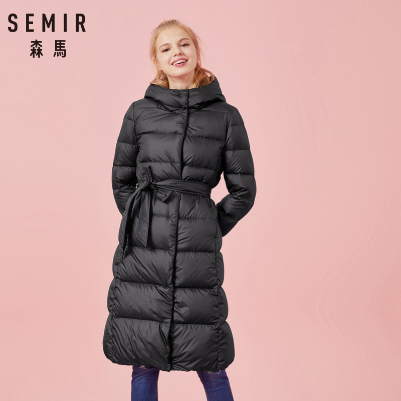 SEMIR Women Winter Fashion Down Jacket Thick Warm Coat Lady Cotton Jacket Long jaqueta Winter Jacket with Hooded Feminina title=