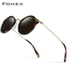 FONEX Pure B Titanium Acetate Polarized Sunglasses Women Vintage Round Sunglass Men Retro Mirrored Sun Glasses for T852