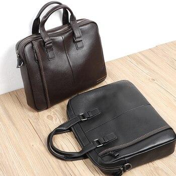 2020 Cowhide Briefcase 100% Genuine Leather Men's Briefcase Fashion Large Capacity Business Bag Black Male Shoulder Laptop Bag