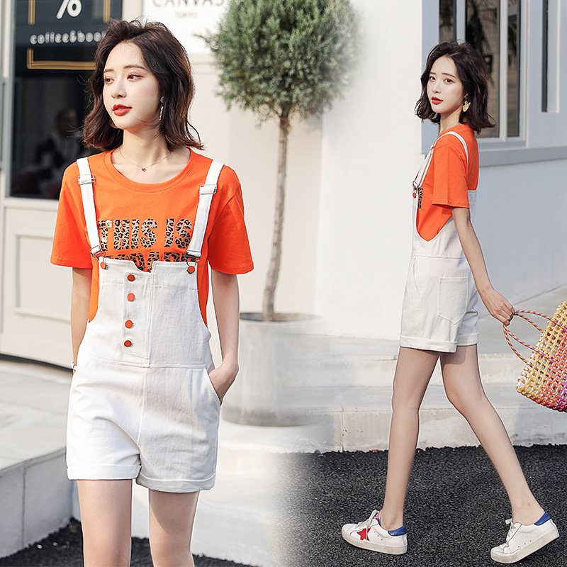 Suspender Pants Set Summer Wear For Women 2019 New Style WOMEN'S Dress Korean-style Slimming Loose-Fit By Age Pants Two-Piece Se