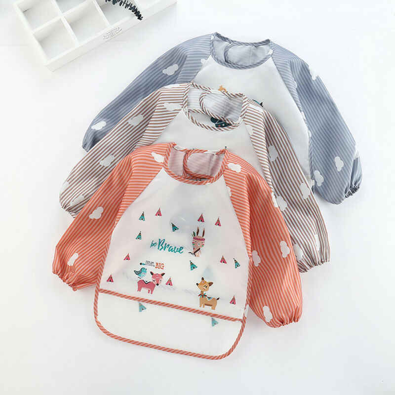 Baby Accessories Infant Newborn Toddler Baby Long Sleeve Waterproof Feeding Art Apron Bib Smock Boys Girls Toddler Accessories