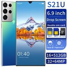S21u 6.9 polegada display completo duplo sim smartphone versão global android11 16gb 512gb mt6889 + deca núcleo cpu rede telefone móvel