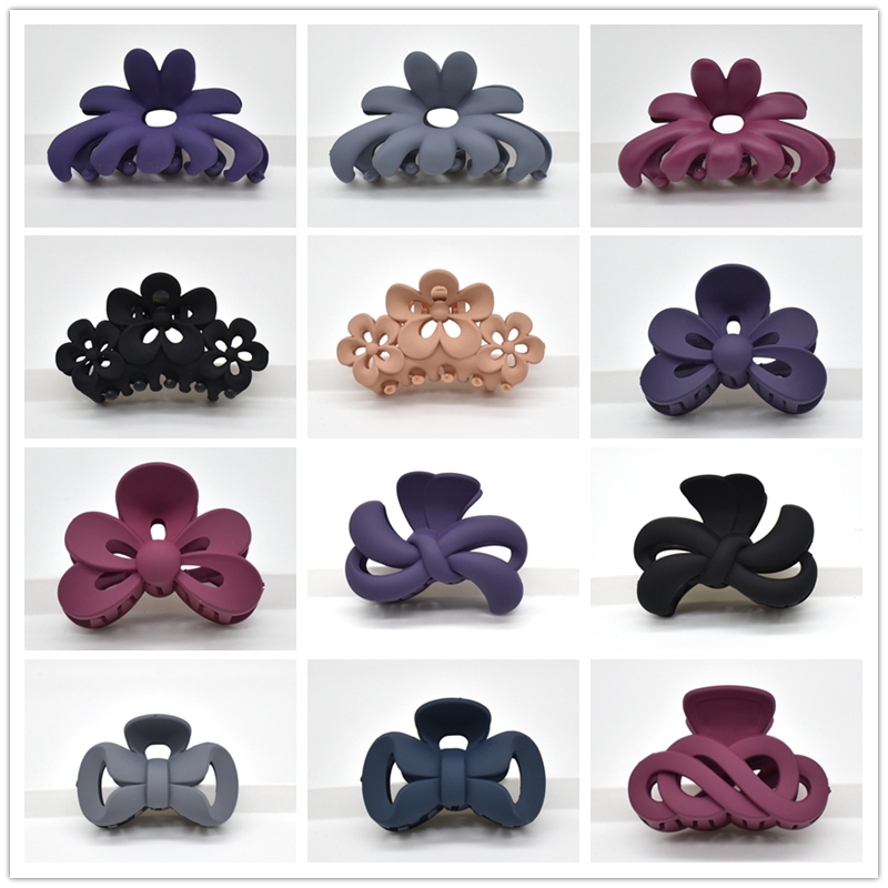 Frosted Colorful Girls Hairpins Big Hair Claw Crab Plastic Hair Clips For Women Barrettes Hair Claws For Women Hair Accessories
